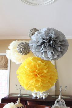 """Yellow, grey and white brunch / Baby Shower/Sip & See """"Hello Baby"""" 