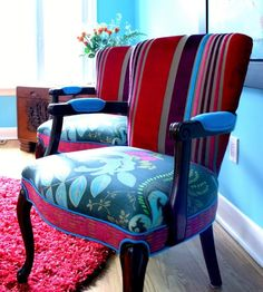 Upholstered Chairs and Settee In Tricia Guild Fabrics from Jane Hall via Custom Made.