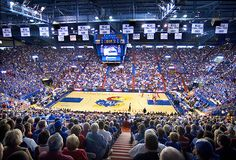 KU game @ Allen Fieldhouse. LOVE the atmosphere in the place. ROCK CHALK!!!