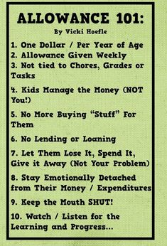 Kids allowance - some good rules of thumb...
