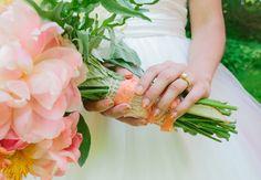 Gold and Peach Ombre Manicure   Lauren Fair Photography   Blog.TheKnot.com