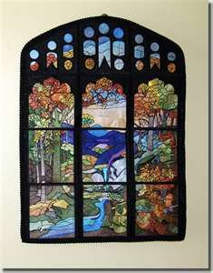 Tiffany Landscape Stained Glass Quilt