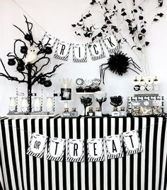 black & white Halloween party decor