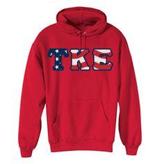 Greek Stars and Stripes Hooded Sweatshirt $29.95 #Custom #Fraternity #Clothing #Hoody #America sweetheart board, kappa epsilon, tke sweetheart, frat stuff, greek merchandis, fratern cloth, tau kappa