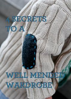 """4 Secrets to a Well-Mended Wardrobe"" - great tips for extending the life of clothing in cute, easy ways! #DIY #homemaking #frugal"