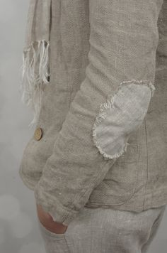 Slim Jacket with Elbow Patches in Herringbone Linen