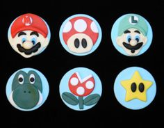 12 Super Brothers Mario and Luigi Inspired Edible Cupcake Topper
