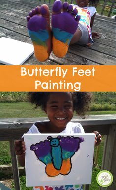 Butterfly feet painting- great DIY gift for Grandma! http://www.greenkidcrafts.com/butterfly-artwork/