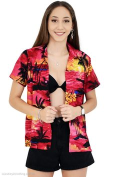 Ladies Hawaiian Shirt 'Pink Sunset' blouse for luau, fancy dress, casual, pool party, music festival or group events. You can wear buttoned down, open over bikini or tie up in the front. Large range to match your entire group. We also make custom mens and ladies hawaiian shirts for groups, uniforms, conferences or any event. #ladieshawaiianshirt #unisexshirt #boyfriendshirt #luaushirt #schoolies #unishirt #springbreak #skatershirt #tropicalshirt #groupmatching #matchingcruisewear #matchymatchy