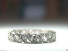 Antique Diamond Wedding Band Ring Eternity Platinum Vintage Anniversary Art Deco
