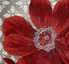 Red Floral Mosaic Tile
