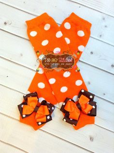 Fall Orange Polka Dot Leg Warmers by ToBeStitched on Etsy, $10.00