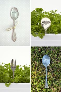 Garden markers made from upcycled cutlery