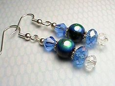 Blue White and Iridescent Glass Beaded Earrings by We3Queens, $8.00