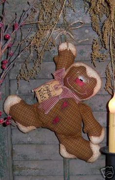 Primitive Homespun Gingerbread Wishes Doll Pattern #236