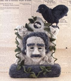 Needle Felted Tombstone of Edgar Allan Poe