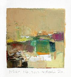 Original Abstract Oil Painting - 9x9 painting (9 x 9 cm - app. 4 x 4 inch) with 8 x 10 inch mat - Hiroshi Matsumoto