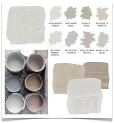 Different grays,taupe,etc.