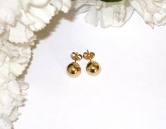 14K Gold Large Ball Earrings and Backs / 8mm by CookieGrandma60, $49.50