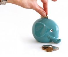 Norsu baby money box - turquoise elephant
