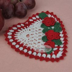 Acrylon Crocheted Heart Shaped Coaster Favor with Three Colors