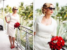 LOVE the attitude! Megan's custom wedding dress is accented by her bright red accessories and super retro shades. Couture wedding gown by Janice Martin Couture - www.janicemartin.net    Photo by Ricky Stern Photography - www.miamiphotographer.net
