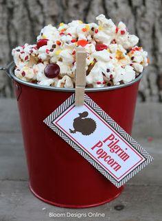 Thanksgiving party treats: Turkey Toes, Gobble Gum & Pilgrim Popcorn - Make It Monday