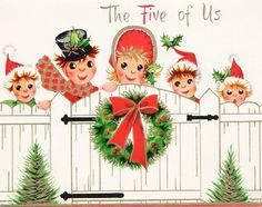 Christmas wishes from the five of us. #vintage #Christmas #cards