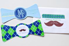 Cute ideas for a boy baby shower (tie and mustache theme)