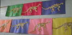 Children assemble and glue pieces of the dinosaur skeleton to a piece of construction paper (12×18), and glue dry pasta on the skeleton.