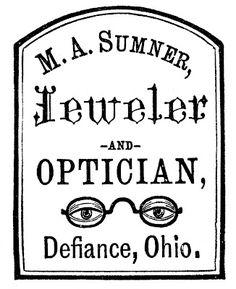 Antique Advertising Clip Art - Optician & Jeweler Label