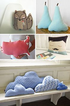 "Cushions and Pillows, a collection of styles: ""The Shaped"" ones..."