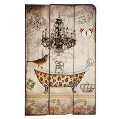 Vintage Primavera Leaopard Bird Bath Wall Art, $35 !!