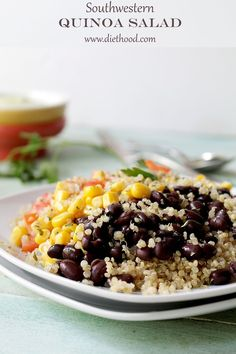 Southwestern Quinoa Salad with Creamy Avocado Dressing | www.diethood.com | #recipe #quinoa #salad