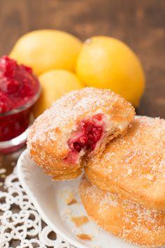 lemon raspberry donuts rolled in lemon sugar