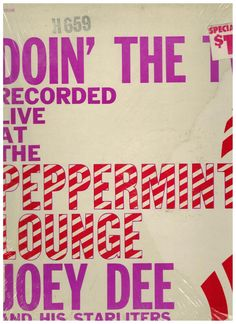 Doin The Twist LP Joey Dee & His Starliters Live at Peppermint Lounge