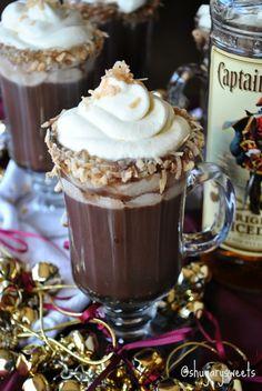 Hot Choc-Colada- homemade hot chocolate paired with pina colada #captainmorgan #spiceuptheholidays www.shugarysweets.com
