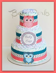 turquoise for baby shower | Coral , Teal, Turquoise , Peach Baby Shower , Chevron Baby Shower ... Owl diaper cake