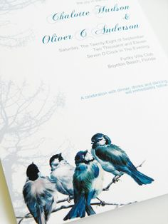 Vintage Blue Birds Wedding Card Set - Wedding Invitation and Reply Card  via Etsy.