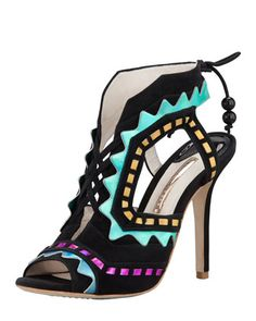 Shop now: Sophia Webster Riko Holographic Lace-Up Sandal