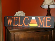 Primitive Welcome Candy Corn Wood Sign for Halloween, Fall Holiday, Thanksgiving, Home Decor Shelf Sitter via Etsy