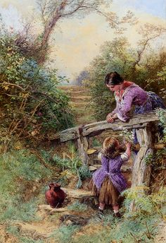 The Stile by Myles Birket Foster. #classic #art #painting