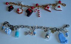 Braccialetti realizzati con miniature in fimo e perline.