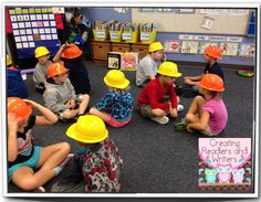 """Hard Hats for Hard Thinking!"" {Blog post from Creating Readers and Writers} First grade students grab their hard hats when they're doing some particularly challenging thinking, like inferring or synthesizing information from a text."