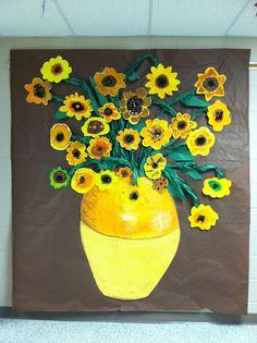 Bulletin Board -- Van Gogh display--each child does a sunflower