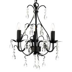 Wrought Iron & Crystal 3-Light Chandelier in Black & Shades - Bed Bath & Beyond Crystals 3Light, Crystal Chandeliers, Gallery, Crystals Chandeliers, Master Bedrooms, 3Light Chand, Wrought Iron, Iron Chand, Bedrooms Ideas