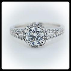 Vintage Style Moissanite Engagement Ring Diamond Side Stones 14k Gold - Ring Name:  Halo Split Shank