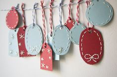 Christmas tags - oh  my, love these colors and stitching and twine!