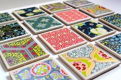 Create a set of beautiful homemade coasters with pretty scrapbook paper and Mod Podge.