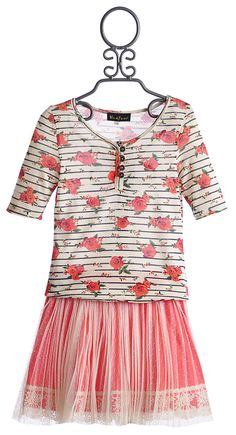 Hannah Banana Tween Floral Top and Mesh Skirt